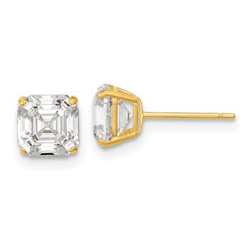 14k Polished 6x6 Asscher Cut CZ Studs Post Earrings