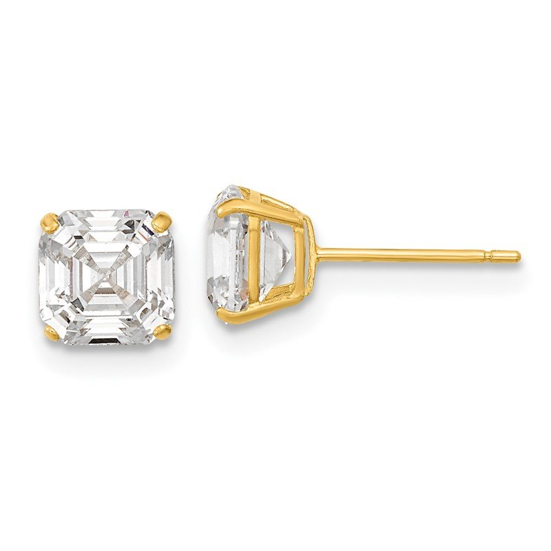 Arizona Diamond Center Collection 14k Polished 6x6 Asscher Cut CZ Studs Post Earrings