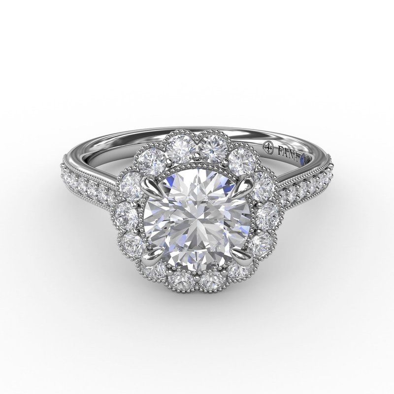 Fana Vintage Scalloped Halo Engagement Ring With Milgrain Details