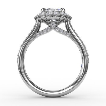 Vintage Scalloped Halo Engagement Ring With Milgrain Details
