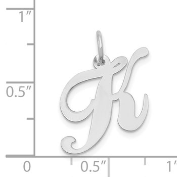 14K White Gold Medium Fancy Script Letter K Initial Charm
