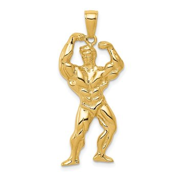 14k Solid Polished Weightlifter Pendant