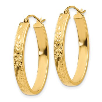 14k Satin & Diamond-Cut Oval Hoop Earrings