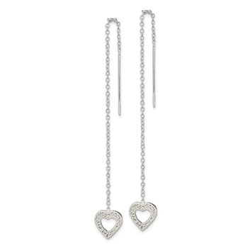 Sterling Silver Hammered Heart Threader Earrings
