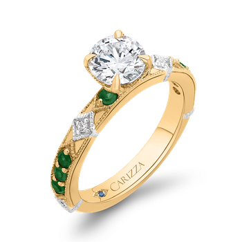 18K Two-Tone Gold Round Diamond and Green Tsavorite Engagement Ring (Semi-Mount)