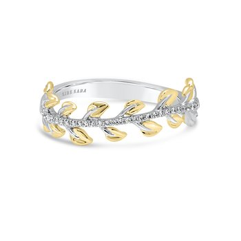 Kirk Kara 18K Two Tone Gold Diamond Leaf Band