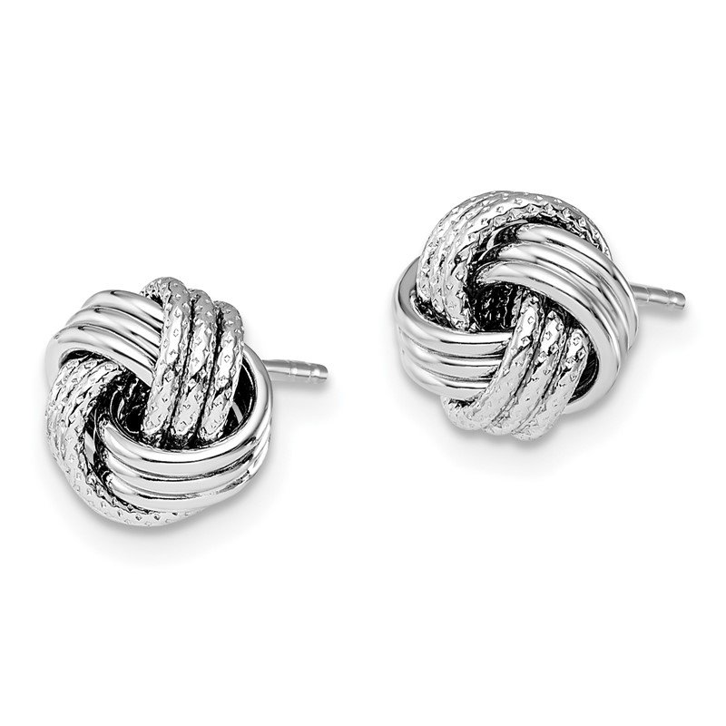 Leslie S 14k White Gold Polished Textured Love Knot Earrings