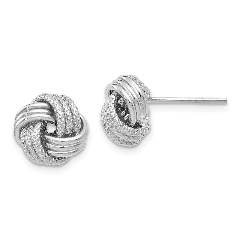 Leslie S 14k White Gold Polished Textured Love Knot Earrings