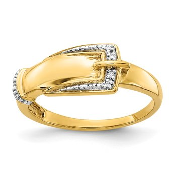 14k Rhodium Diamond Buckle Ring