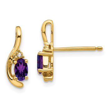 14k Amethyst and Diamond Post Earrings