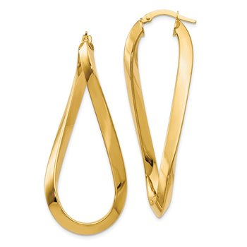 Leslie's 14k Polished Twisted Oval Hinged Hoop Earrings