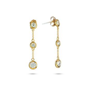 14K YG Diamond Dangle Earrings Dia by Yard Matching