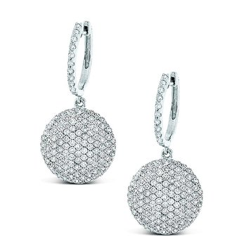 Diamond Disc Earrings in 14k White Gold with 238 Diamonds weighing 1.26ct tw.