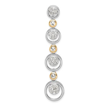 Sterling Silver w/14k Round CZ Dangle Chain Slide Pendant