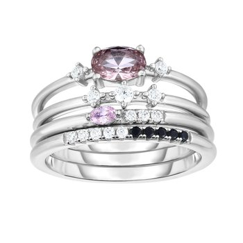 Silver Purple, White, Black CZ Stackable Ring