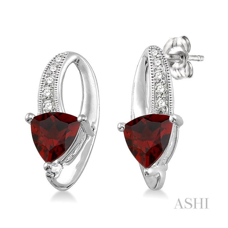 ASHI trillion shape gemstone & diamond earrings