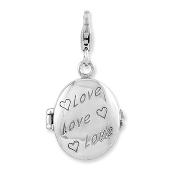 SS Rhodium-Plated Enameled Love Heart Compact w/Lobster Clasp Charm