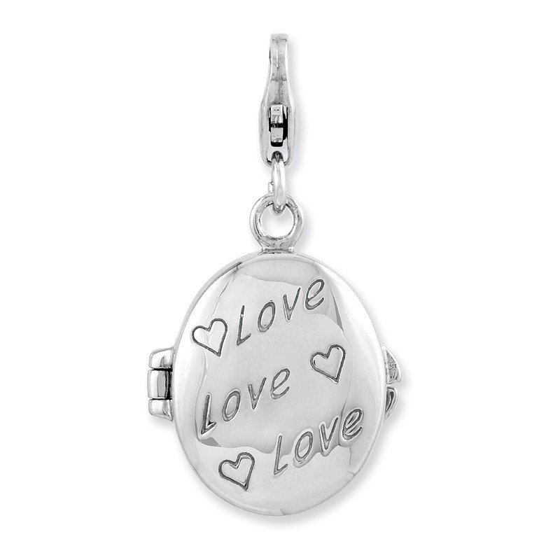 Arizona Diamond Center Collection Sterling Silver Enameled Love Heart Compact w/Lobster Clasp Charm