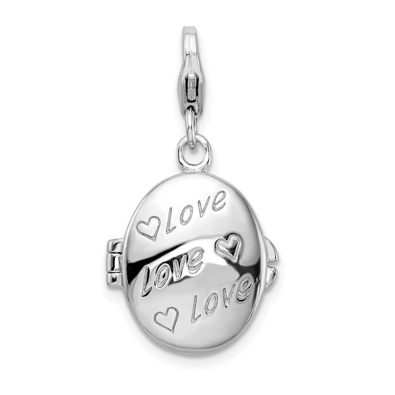Quality Gold SS Rhodium-Plated Enameled Love Heart Compact w/Lobster Clasp Charm