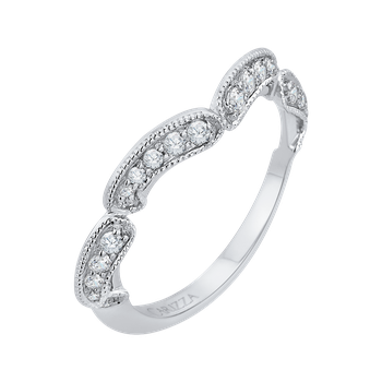 18K White Gold Round Diamond Half-Eternity Wedding Band