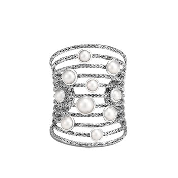 Classic Chain Cuff in Silver with Pearl