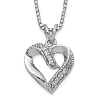 Sterling Silver Rhodium-plated CZ Heart Necklace
