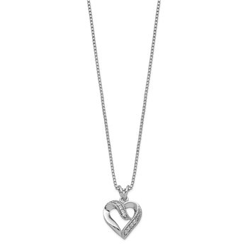 Sterling Silver Rhodium-plated Fancy CZ Open Heart 16 inch Necklace