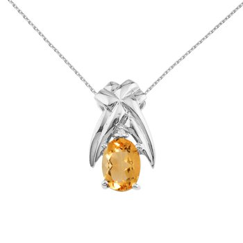 14k White Gold 7x5 mm Citrine and Diamond Oval Shaped Pendant