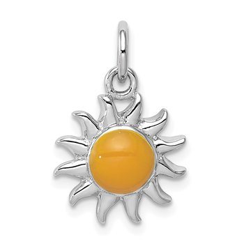 Sterling Silver Rhodium-plated Yellow Sun Charm