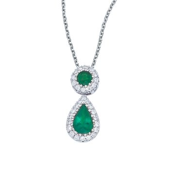 14k White Gold Emerald and Diamond Dangle Pendant
