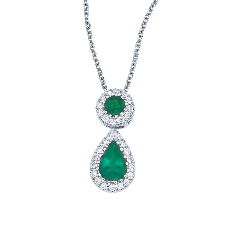 Color Merchants 14k White Gold Emerald and Diamond Dangle Pendant