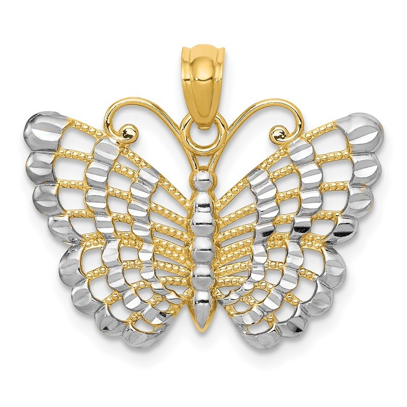 Quality Gold 14k and Rhodium Diamond-cut Butterfly Pendant