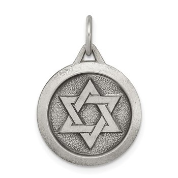 Sterling Silver Antiqued Star of David Medal