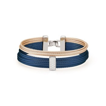 Blueberry & Carnation Cable Large 2 Row Simple Stack Bracelet with 18kt White Gold & Diamonds