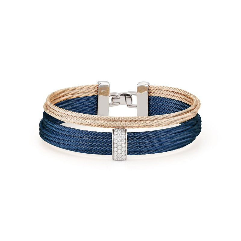 ALOR Blueberry & Carnation Cable Large 2 Row Simple Stack Bracelet with 18kt White Gold & Diamonds