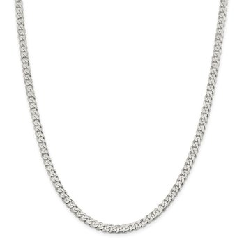 Sterling Silver 4.5mm Beveled Curb Chain