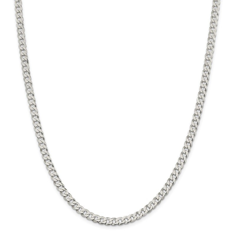 Quality Gold Sterling Silver 4.5mm Beveled Curb Chain