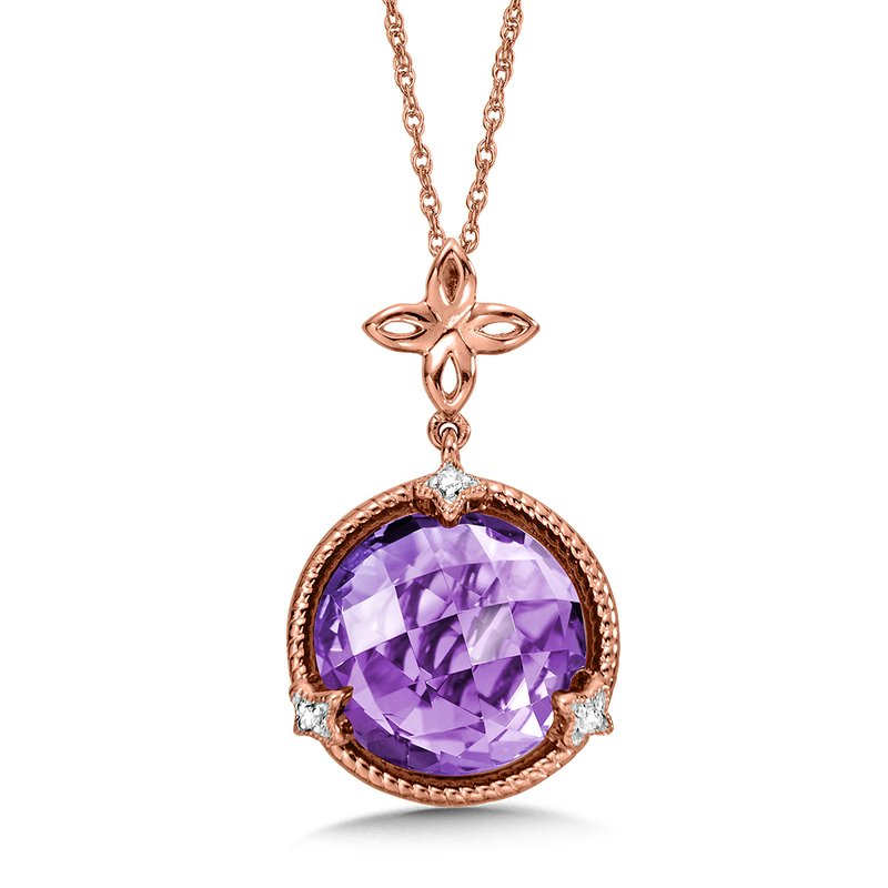 Colore Oro Amethyst & Diamond Pendant in 14K Rose Gold