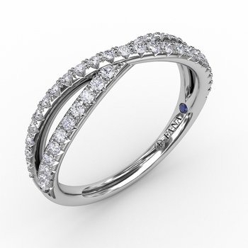 French Pave Crossover Diamond Band