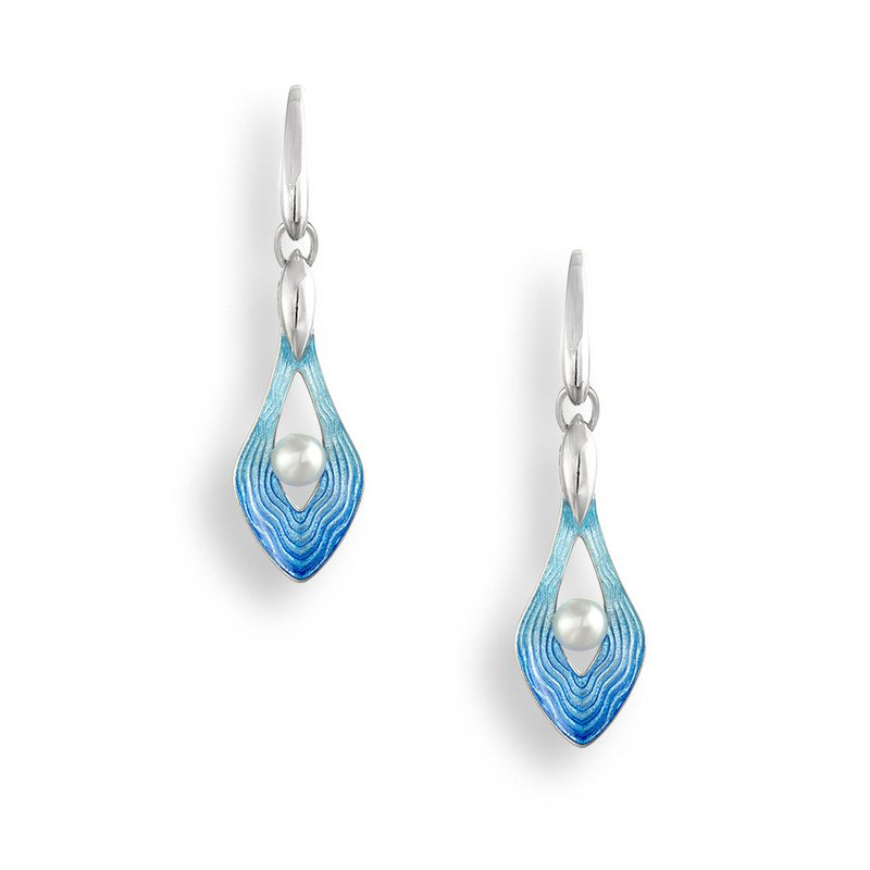 Nicole Barr Designs Blue Teardrop Wire Earrings.Sterling Silver-Freshwater Pearls