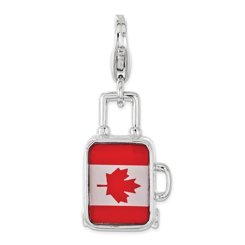 Quality Gold Sterling Silver Enameled Canadian Flag Suitcase Lobster Clasp Charm