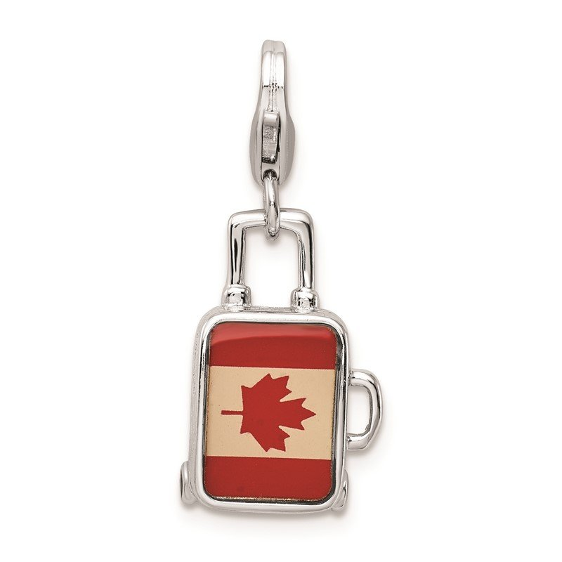 Quality Gold SS RH Enameled Canadian Flag Suitcase Lobster Clasp Charm