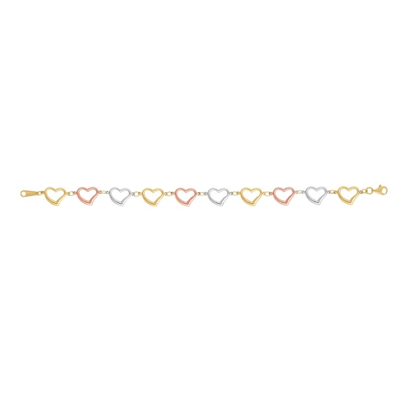 Royal Chain 14K Tri-color Gold Heart Link Bracelet