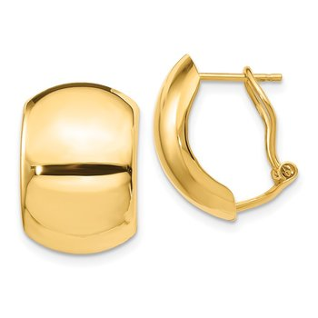 14K Polished Omega Back Earrings