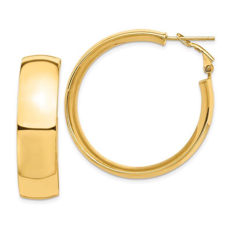 Quality Gold 14k High Polished 10mm Omega Back Hoop Earrings