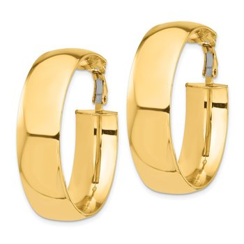 14k High Polished 10mm Omega Back Hoop Earrings