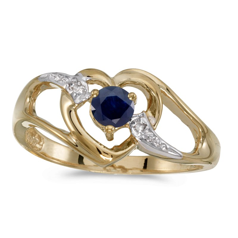 Color Merchants 14k Yellow Gold Round Sapphire And Diamond Heart Ring