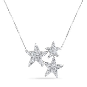 14K TRIPLE STARFISH NECKLACE WITH 159 DIAMONDS 0.68CT 18 INCHES LONG CENTER PIECE 24MM WIDE BY 26MM LONG