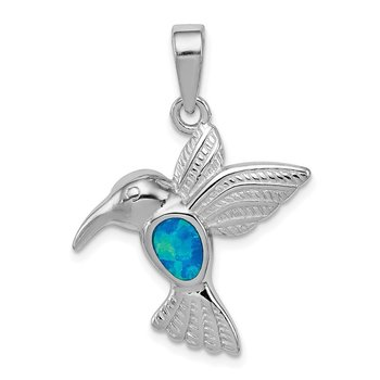 Sterling Silver Rhod plated Creat Opal Inlay Hummingbird Pendant