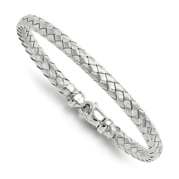 Leslie's Sterling Rhodium-plated Weaved Silver Bangle